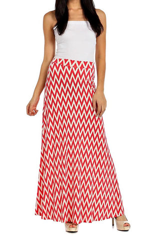 Womens Chevron Striped High Waist Maxi Skirt Made In U.S.A