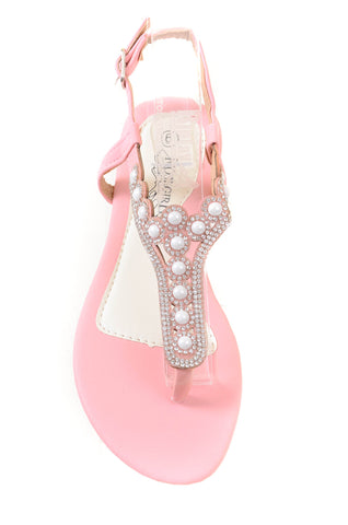 Rhinestone Jewel Embellished Elegant Flat Thong Sandals