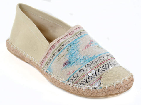 Tribal Sequin Canvas Cap Toe Stripes Espadrille Skimmer Loafer Flat