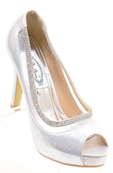 Sparkly Peep Toe Platform Stiletto Dress Evening Pumps Women's Heels