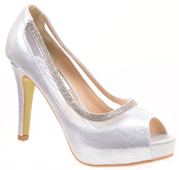 Sparkly Peep Toe Platform Stiletto Evening Pumps Women