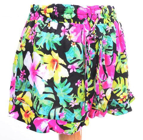 Colorful Hawaiian Floral Print Fashion Ruffled Summer Shorts Black