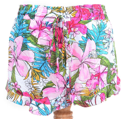 Colorful Hawaiian Floral Print Fashion Ruffled Summer Shorts