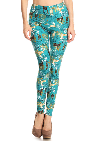 Womens Full Length Teal Holiday Reindeer Fashion Print Leggings