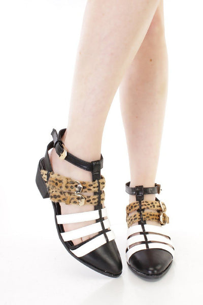 Furry Leopard Tri-Colored Strappy Vegan Faux Leather Womens Ankle Bootie