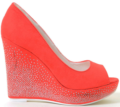 Glitzy Red Peep Toe Evening Holiday Platform Wedges Women's Pumps