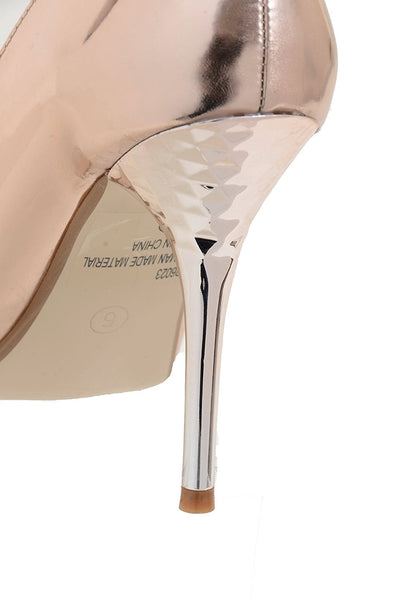 Champagne Metallic Ankle Strap Bow High Heel Wedding Shoes Women's