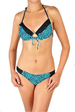 Turquoise Floral Print Gold Bead Accent String Bikini