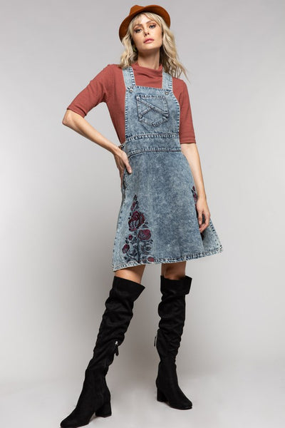 Denim Suspender Overall Skirt Snow Wash Floral Embroidery