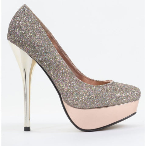 Glitter Round Toe Platform Stiletto Heel Pumps