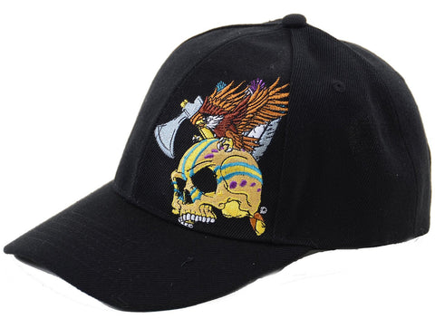 Black Tribal Skull with Eagle Embroidered Adjustable Unisex Baseball Hat