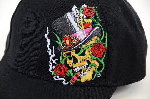 Black Top Hat Skull & Rose Embroidered Adjustable Unisex Baseball Hat