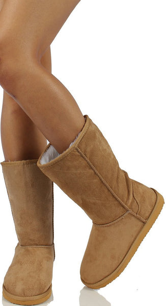 Furry Faux Shearling Vegan Fleece Womens Flat Boot Beige