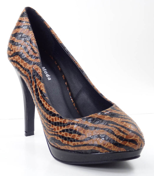 Vegan Leather Tiger Print Womens Fashion Heels Brown