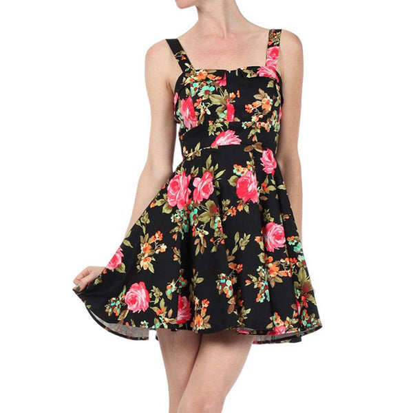 Spring Fling Floral Tie Back Retro Swing Mini Dress Women's Small