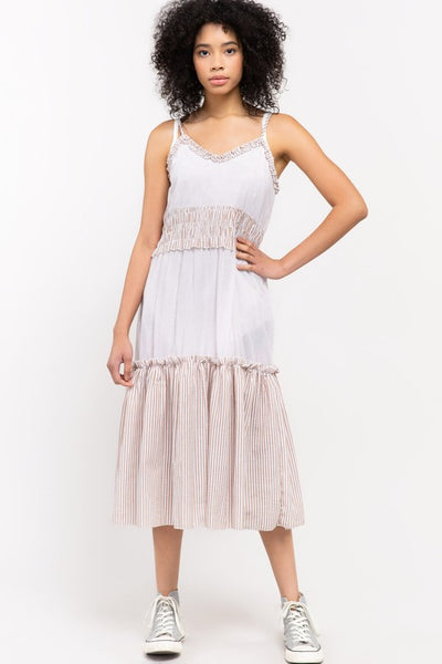 Seersucker Spaghetti Strap Tiered cotton Midi Dress