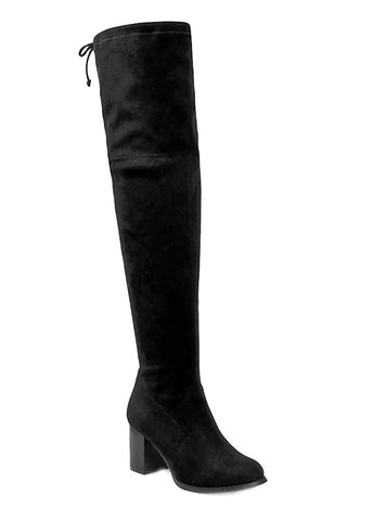 Over the Knee Block Heel Women's Stretchy Vegan Black Boots