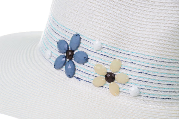 Womens Fashion Floral Stone Beaded Panama Hat with Band