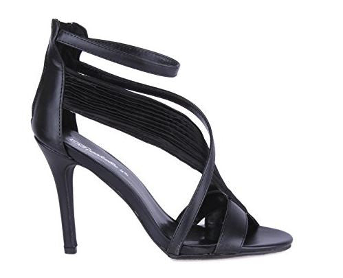 Metallic Open Toe Chiffon Assymetrical Strapped Sandals Black