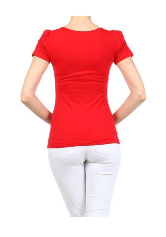 Red Solid Knit Handbag Applique Graphic Print Fitted Tee Shirt