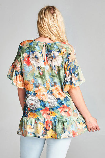Plus Size Breezy Floral Print Dobby Ruffled Blouse Made in USA
