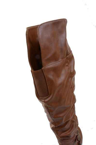 Leatherette Buckle Slouchy Knee High Vegan Boot