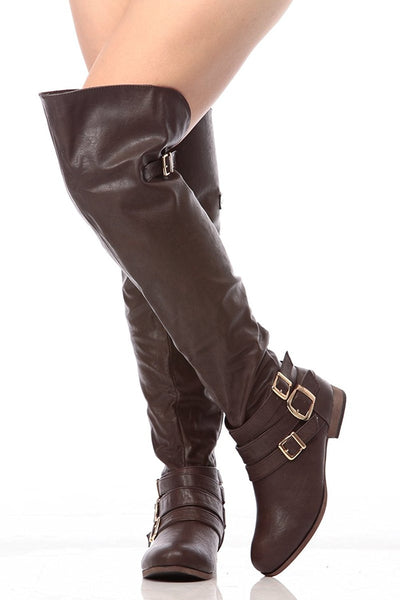 Dark Brown Faux Leather Over the Knee Riding Women's BootsSV