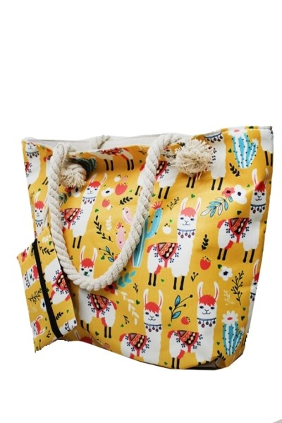Yellow Llama Cactus Floral Fashion Shoulder Tote Bag Purse