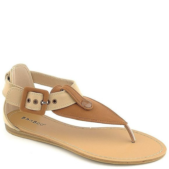 Bamboo Steno-73 Two-tone Flat Thong Sandals Women's