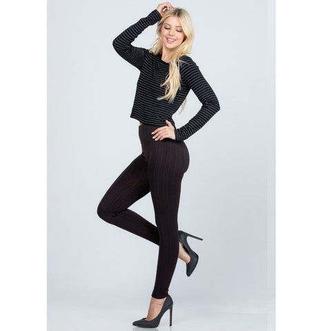 Fleece Textured High-Waist Full-length Leggings