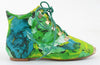 Womens Green Abstract Art Lace Up Flat Bootie Women's Shoes