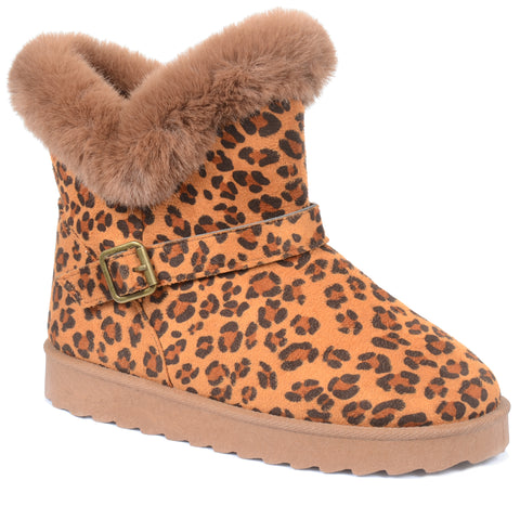 Leopard Fur Short Durable Ankle Vegan Suede Bootie