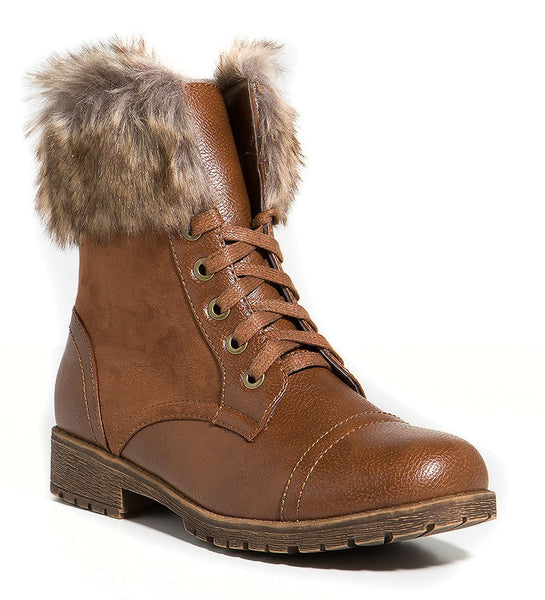 Combat Lace Up Faux Fur Ankle Cuff Lug Sole Booties