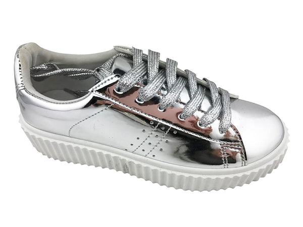 Metallic Lace Up Chunky Flatform Sole Slip On Creepers