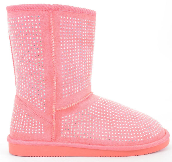 Fur Rhinestone Faux Shearling Pink Round Toe Women's Boot