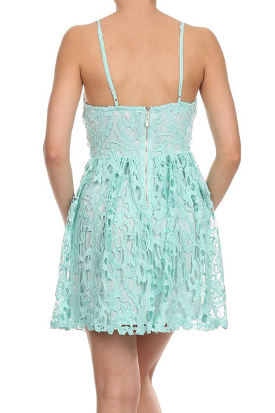 Womens Mint Crochet Lace Sweetheart Cocktail A-Line Mini Dress