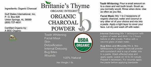 Organic Charcoal Powder, 1 lb - USDA Certified Organic Teeth Whitening