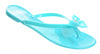 Green Jelly Bow Thong Flat Sandal