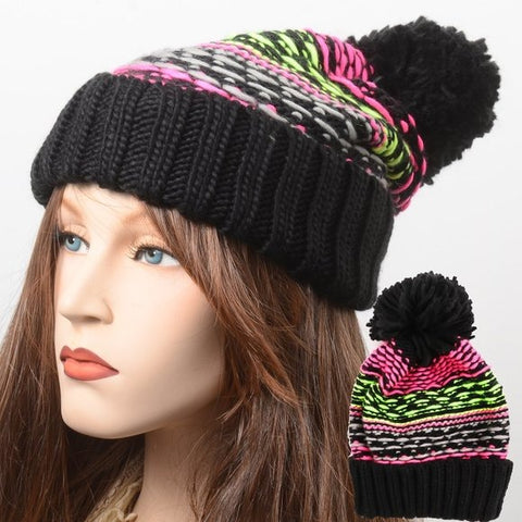 Pink Green Pom Pom Warm Winter Ski Beanie Hat New