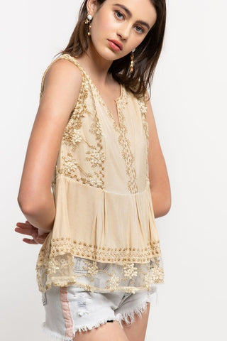 Babydoll Blouse Embroidered Stitching Detail Lace Hem