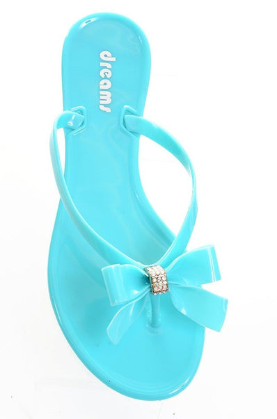 Mint Green Jelly Bow Thong Flat Sandal Younger