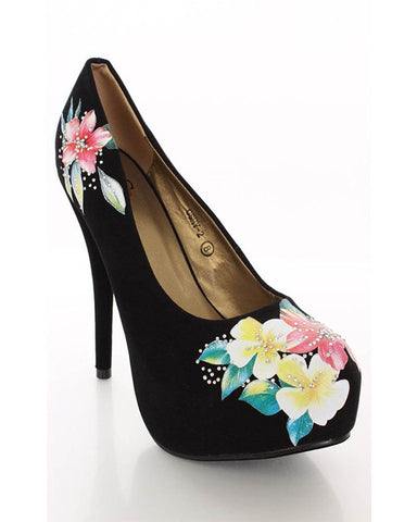 Floral Black Vegan Suede Pump Stiletto Heels Women's