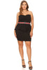 Womens Plus Solid Black Short Peplum Bodycon Strapless Dress