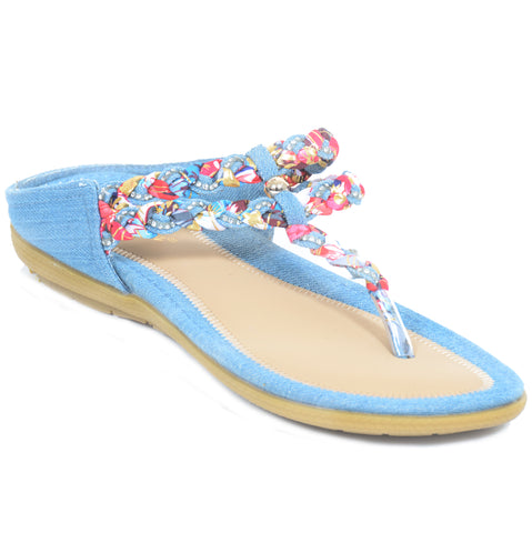 Blue Denim Wedge Flip-flop Thong Sandals