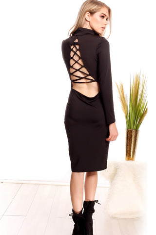 Pencil Dress Back Lace Long Sleeve Midi Length Round Neckline
