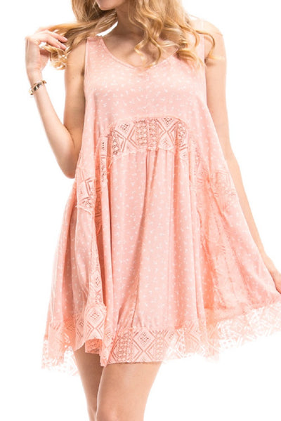 Pink Tiny Flowers Printed Lace Contrast Trapeze Dress