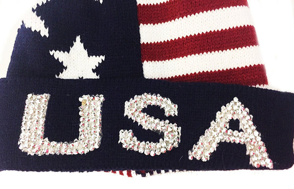 Bling USA Patriotic Stars & Stripes Thick Knit Pom Beanie Ski Hat