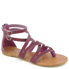Load image into Gallery viewer, Bamboo Criss Cross Ankle Strap Back Zipper Flats