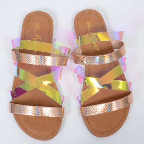 Iridescent Metallic Clear Strappy Flat Sandals
