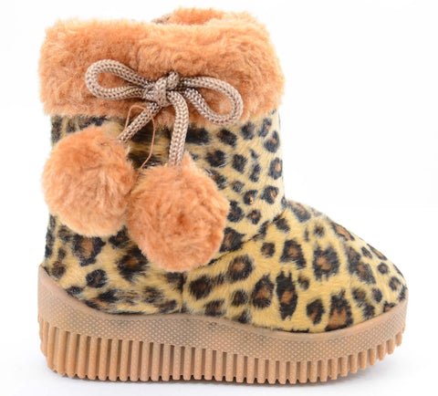 Super Furry Leopard Infant Baby Fashion Pom Winter Boots